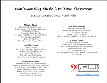 Implementing Music into Your Classroom (Song List)
