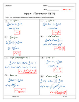Calculus Differentiation: IMPLICIT DIFFERENTIATION ( 2 WS - typed solutions)