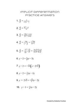 Implicit Differentiation Practice