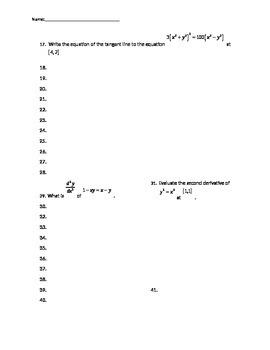 Implicit Differentiation Quiz