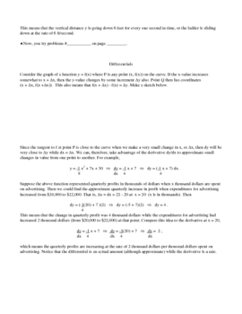 Implicit Differentiation, Related Rates, and Differentials