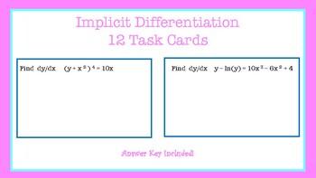 Implicit Differentiation Task Cards