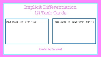 Implicit Differentiation Task Cards