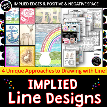 Implied Line Designs    Easy Art Elements Lesson Using Line or Sub Lesson!