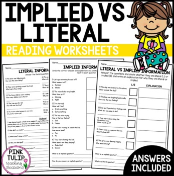 Implied vs Literal Questions - Worksheets with Answers