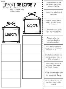 Import or Export? Cut and Paste Sorting Activity