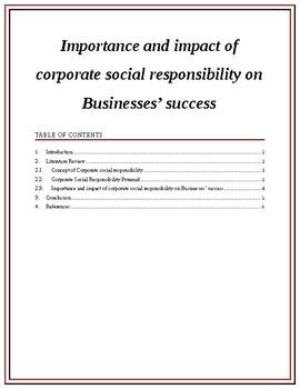 Importance and impact of corporate social responsibility on Businesses' success