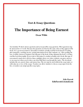 the importance of being earnest test questions