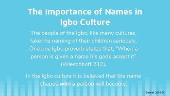 Importance of One's Name - Things Fall Apart