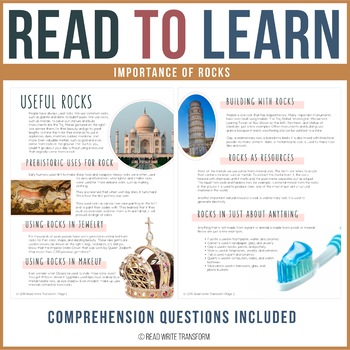 Importance of Rocks Reading Passage and Comprehension Questions