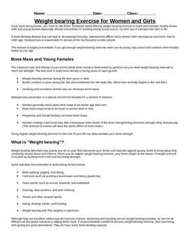Importance of Weight Bearing Exercise for Muscle and Bone Health