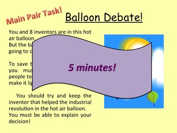 Important inventions in the Victorian Industrial Revolution Balloon debate
