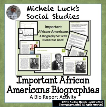 Important African Americans Biography Centers Activity - B