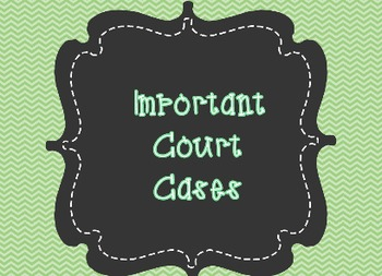 Important Court Cases with Chief Justice John Marshall