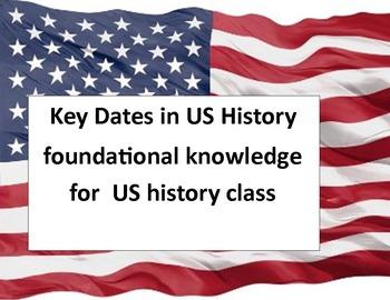 Key Dates in US History - five quizzes & keys plus study activity