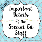 Important Details of the Special Education Staff {FREEBIE}
