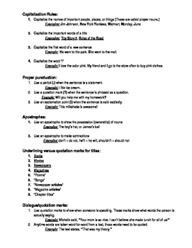 Important Grammar Rules Packet
