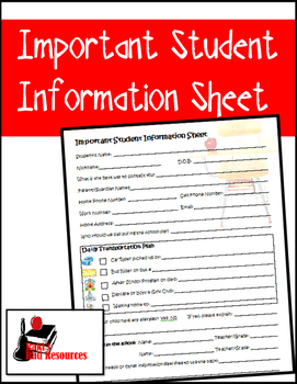 Important Student Information Sheet
