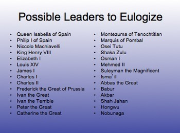 Important Leaders of the Early Modern Period Eulogies Assignment AP