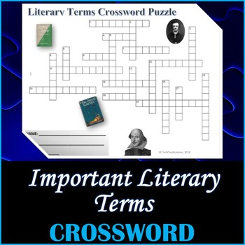 Important Literary Terms Crossword Puzzle Activity Worksheet