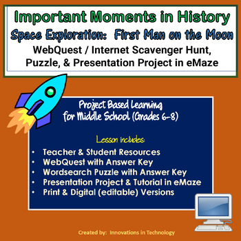 Important Moments in History - First Man on the Moon WebQuest & Presentation