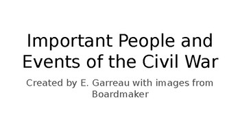 Important People and Events in the Civil War