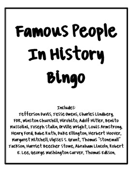 Important People from Civil War to World War 2 Bingo