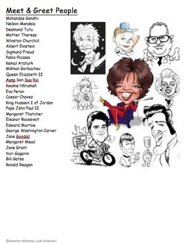 Important People of 20th Century Meet Greet Character Collage Activity