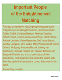 Important People of the Enlightenment Matching