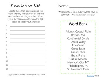 Important Physical & Man-Made Features in the USA {Task Cards with QR Codes}