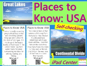 Important Physical & Man-Made Features in the USA {Task Ca