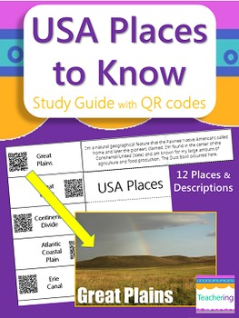 Physical and Man Made Places in the USA Study Guide with QR Codes