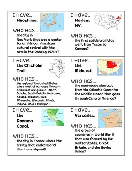 "Important Places ""I Have, Who Has?"" - 5th Grade Social Studies Review"