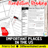 Important Places in U.S. History Reading & Map Activity (S