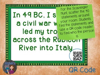 Ancient Rome: Important Romans Scavenger Hunt {With and Without QR Codes}