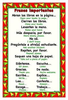 Important Spanish phrases and questions posters/Frases y preguntas importantes