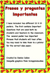 Important Spanish phrases and questions posters/Frases y p