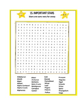 Important Stars Word Search or Wordsearch