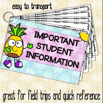 Important Student Information Cards PINEAPPLE