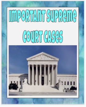Important Supreme Court Cases Google Classroom Activity