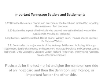 Important Tennessee Early Settlers and Terms