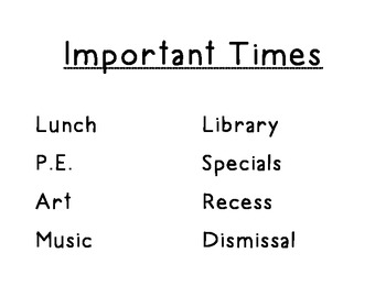 Important Times