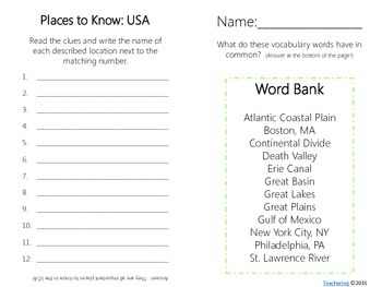 Important USA Places Task Cards {with PHOTOS to differentiate}