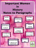 Important Women in History Notes to Paragraphs