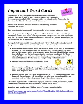 Important Word Cards - A Reading Motivation - Personalized Reference
