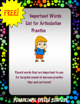 Important Words List for Speech Therapy