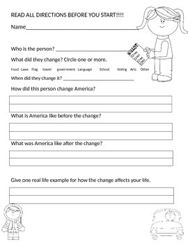 Important people who changed America Inferring Worksheet