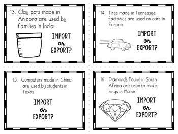 Imports and Exports Task Cards