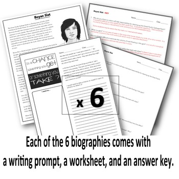 Biographies for Science and Social Studies - Reading, Questions, Writing Prompts