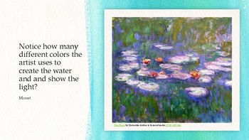 Teach your students to Paint like Monet!  Impressionist art project.